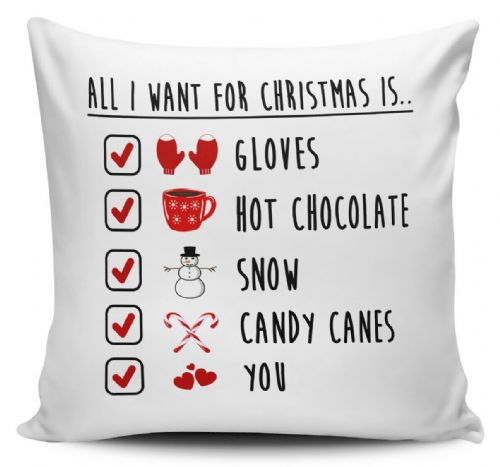 All I Want For Christmas Is You Festive Checklist Novelty Cushion Cover